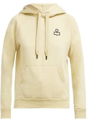 Etoile Isabel Marant Malibu Flocked Logo Cotton Blend Hooded Sweatshirt - Womens - Light Yellow