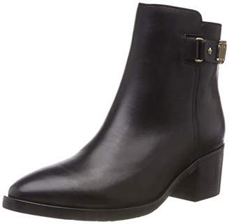 Tommy Hilfiger Women's Th Buckle Mid Heel Leather Ankle Boots