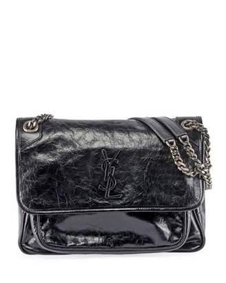 Saint Laurent Niki Medium Monogram Shiny Leather Shoulder Bag