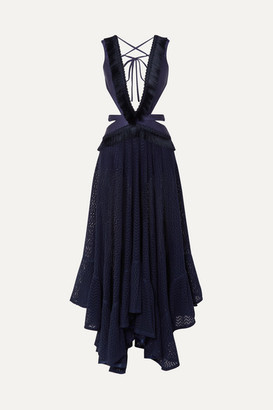 PatBO Cutout Fringed Jersey And Cotton-blend Lace Maxi Dress - Navy