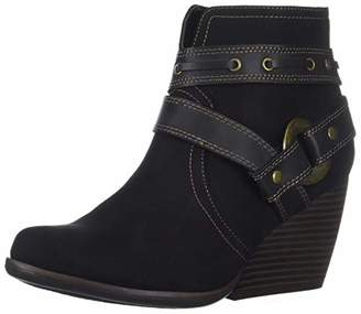 Sugar HUMS Womens Casual Belted Wedge Heel Ankle Boot