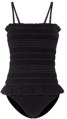 Tory Burch Smocked ruffle swimsuit
