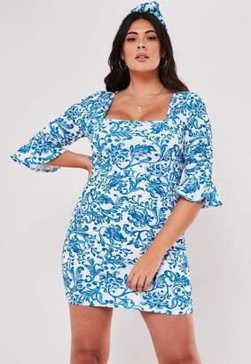 Missguided Plus Size Blue Porcelain Print Frill Sleeve Mini Dress