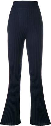 Nude rib knit flared trousers