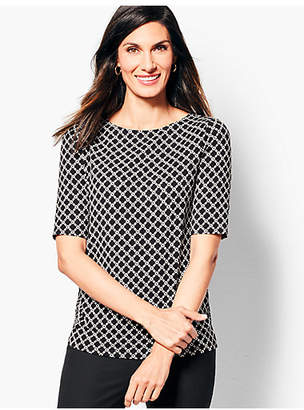 Talbots Refined Elbow-Sleeve Top - Geo-Print