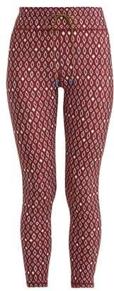 The Upside Diamond Print Cropped Leggings - Womens - Burgundy White