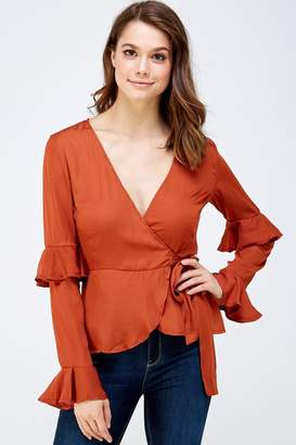 Idem Ditto Rust Wrapped Blouse