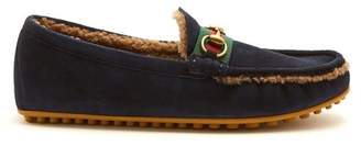 Gucci - Shearling Lined Driving Loafers - Mens - Navy