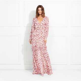 Rachel Zoe Yvonne Kiss Print Silk Chiffon Maxi Dress