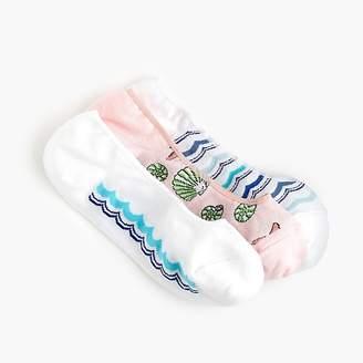 J.Crew No-show socks three-pack in seashells and stripes