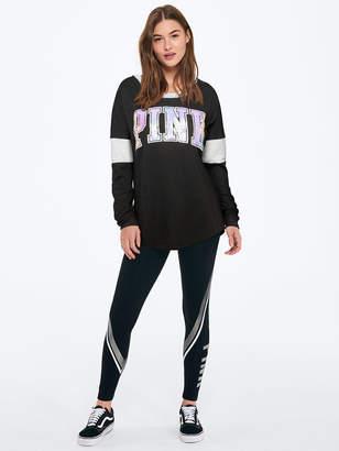 PINK Bling Varsity Long Sleeve Crew Tee