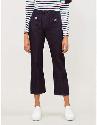 Claudie Pierlot Palace crystal-embellished straight high-rise jeans
