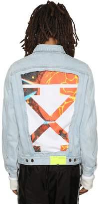 Off-White Off White Slim Denim Jacket W/ Sweatshirt Insert