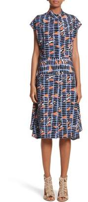 Zero Maria Cornejo Pill Print Stretch Silk Dress