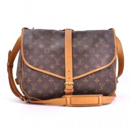 Louis Vuitton excellent (EX Saumur 35 Brown Monogram Canvas Shoulder Bag