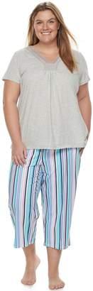 Croft & Barrow Plus Size Pajamas: Island Getaway Lace Tee & Capris PJ Set