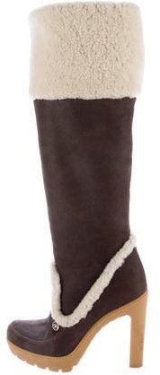 Christian Dior Shearling Knee-High Boots