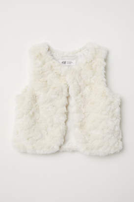 H&M Faux Fur Vest - White