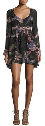 Elizabeth and James Lilou Long-Sleeve Printed Dress, Black/Multi $445 thestylecure.com
