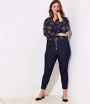 LOFT Plus Modern Button Fly Skinny Jeans in Black