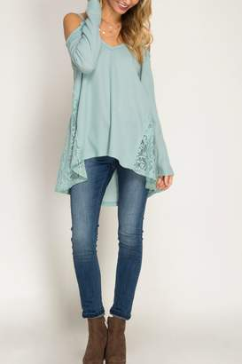 She + Sky Cold Shoulder Waffle Top $48 thestylecure.com