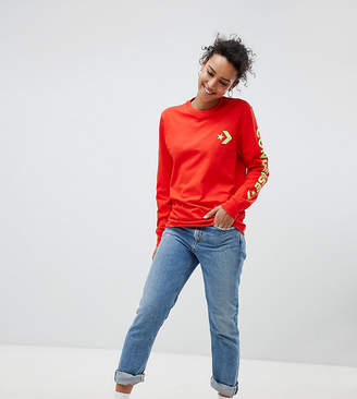 Converse Exclusive To Asos Long Sleeve T-Shirt With Arm Branding In Red