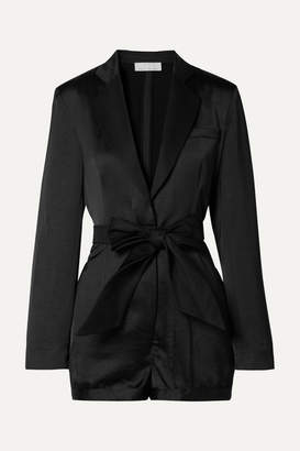 Fleur Du Mal Belted Faille-trimmed Satin Playsuit - Black