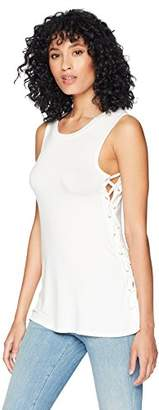 Romantic Dreamers Women's Lace-Up Side Sleeveless Crewneck Top