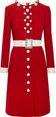 Dolce & Gabbana - Embellished Wool-blend Dress - Red $5,395 thestylecure.com