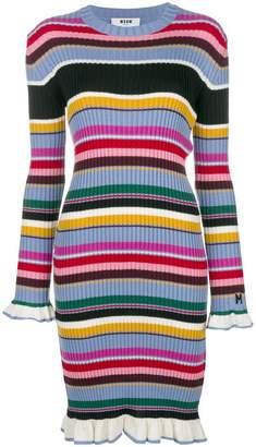 MSGM striped rib knit midi dress