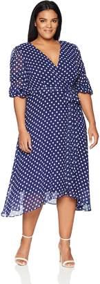 Gabby Skye Women's Plus Size Polka Dot V-Neck Ruffled Sleeve Dress, Navy/Ivory, 22W