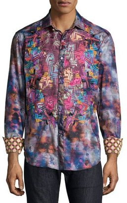 Robert Graham Printed Long-Sleeve Sport Shirt, Multicolor $398 thestylecure.com
