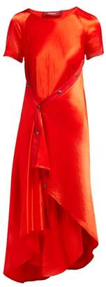 Sies Marjan Sophie Washed Satin Asymmetric Midi Dress - Womens - Red