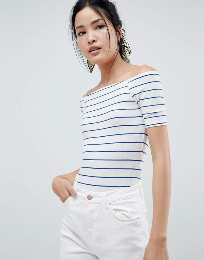MBYM Stripe Bardot Bodysuit