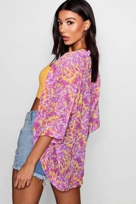 boohoo Printed Chiffon Cocoon Kimono