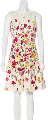 Oscar de la Renta Textured Floral Print Dress