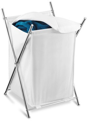 Honey-Can-Do Folding Hamper with Cloth Lid and Steel X-Frame, White/Chrome