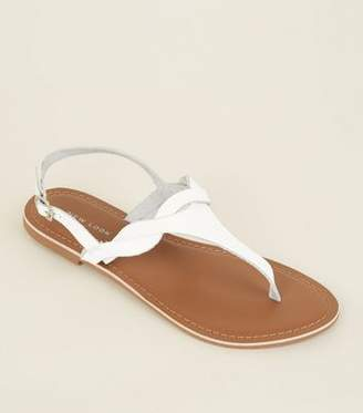New Look White Leather Twist Strap Flat Sandals