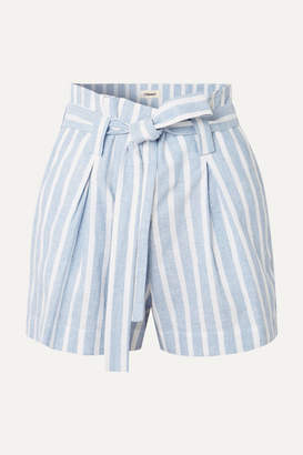 L'Agence Alex Belted Striped Linen And Cotton-blend Shorts - Blue