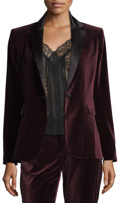Alice + Olivia Macey Notched-Collar Tailored Velvet Blazer