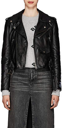 Balenciaga Women's Graffiti-Logo Leather Moto Jacket - Black