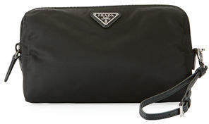 Prada Vela Medium Triangle Cosmetics Bag $270 thestylecure.com