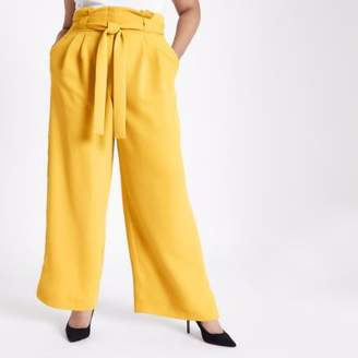 River Island Womens Plus yellow tapered leg pants