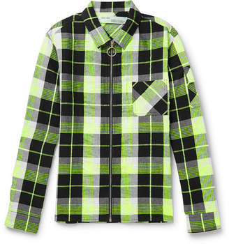 Off-White Printed Checked Twill Zip-Up Shirt Jacket