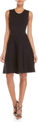 A.L.C. Black Este Lace-Up Back Knit Fit & Flare Dress