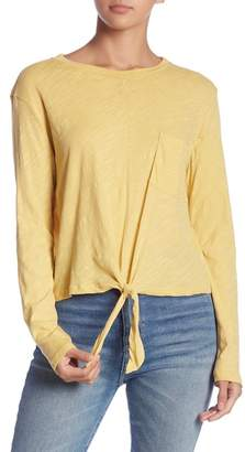 Lush Long Sleeve Pocket Tie Front Tee