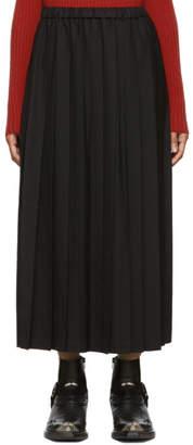 Junya Watanabe Black Wool Pleated Skirt