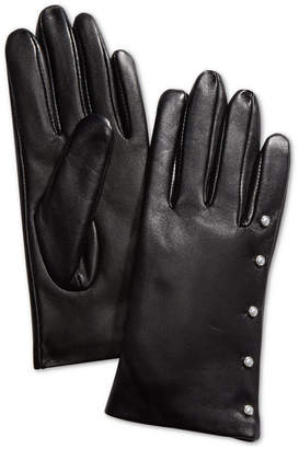 Charter Club Imitation-Pearl & Leather Touch Gloves
