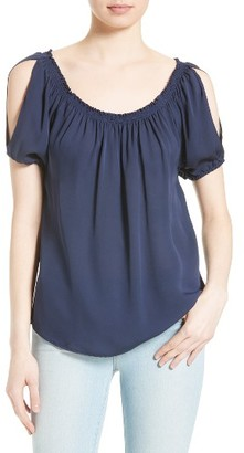 Women's Joie Kendal Slit Sleeve Silk Off The Shoulder Top $238 thestylecure.com