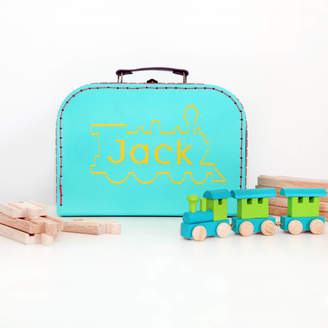 red berry apple Personalised Case And Wooden Train Set